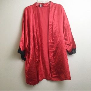 Fredericks of Hollywood Red Robe With Lace Trim